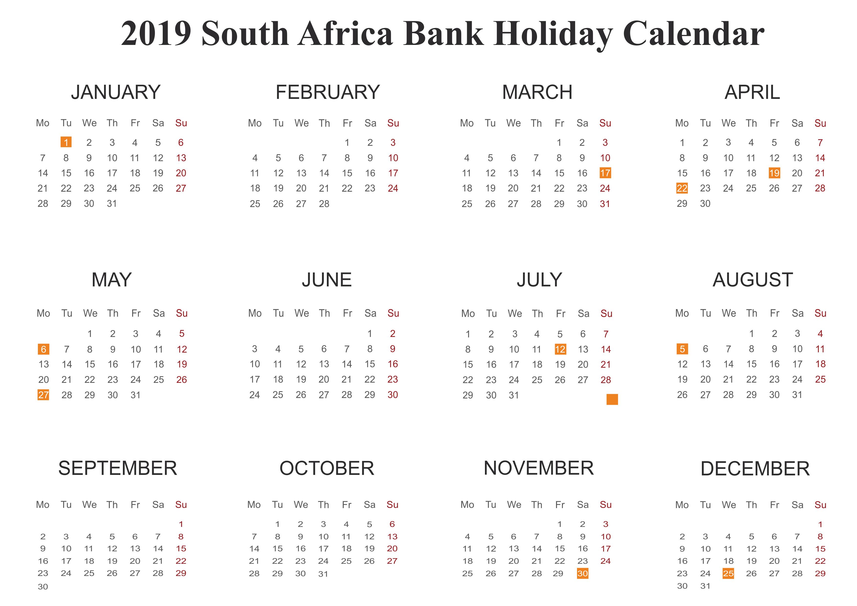 SA Bank Holidays 2019 Calendar