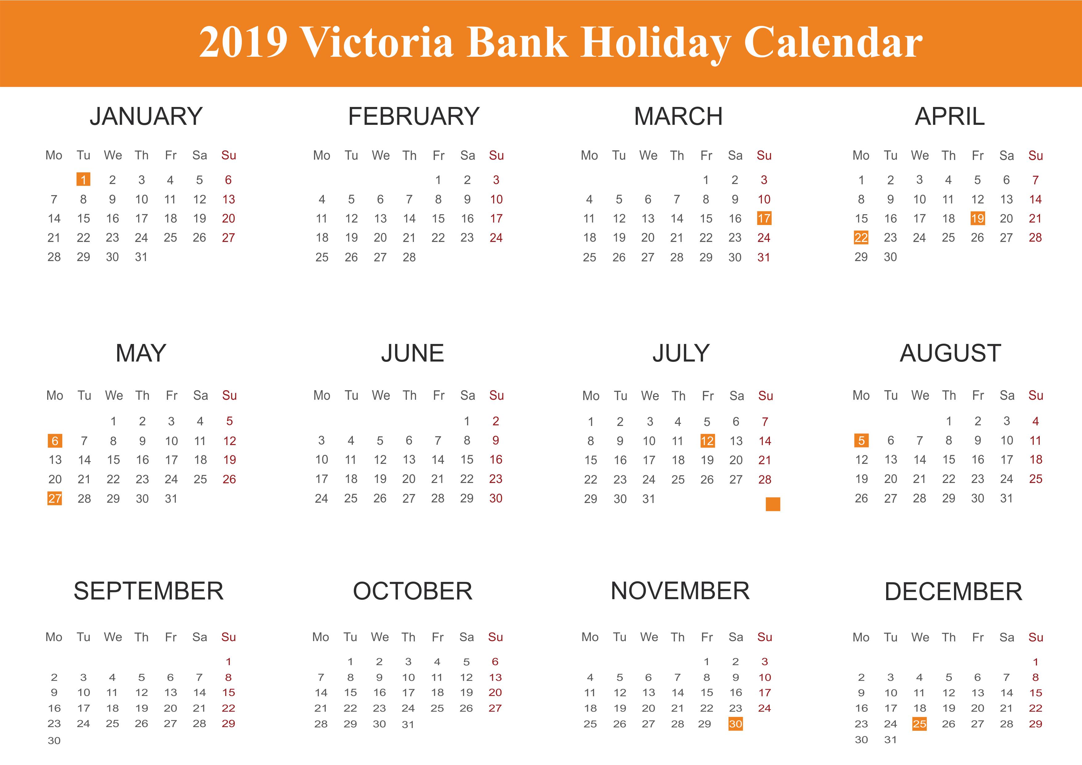 2019 Victoria Bank Holidays Calendar
