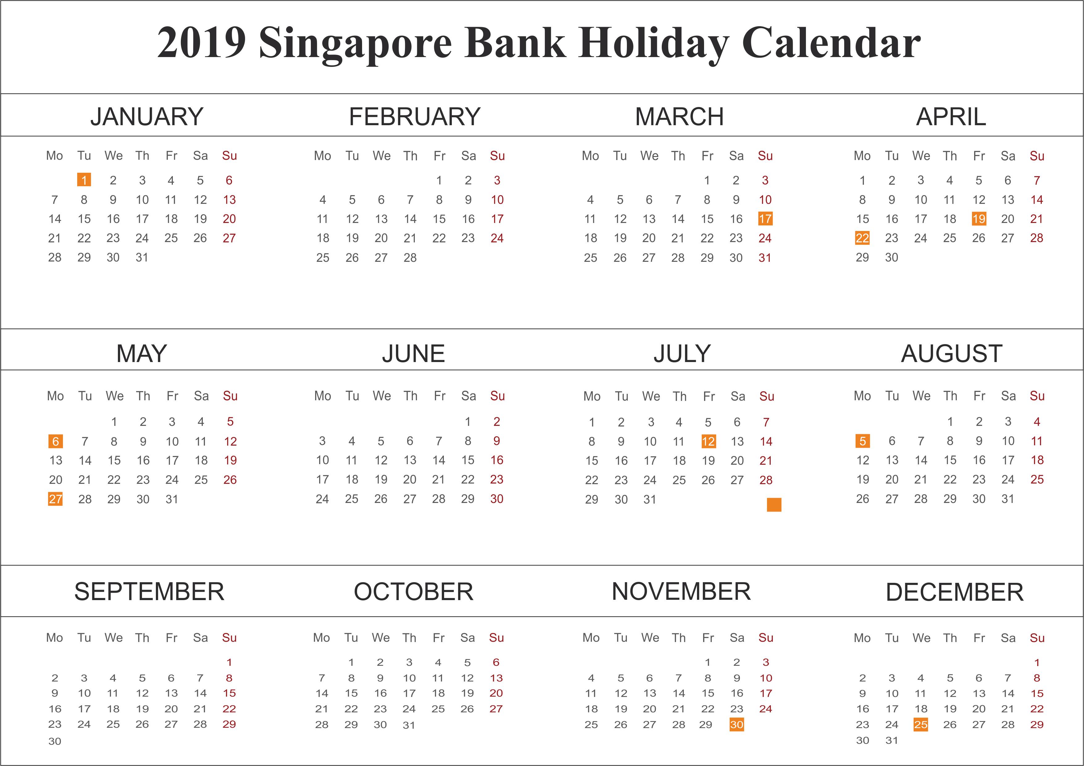 Singapore Bank Holidays 2019 Calendar