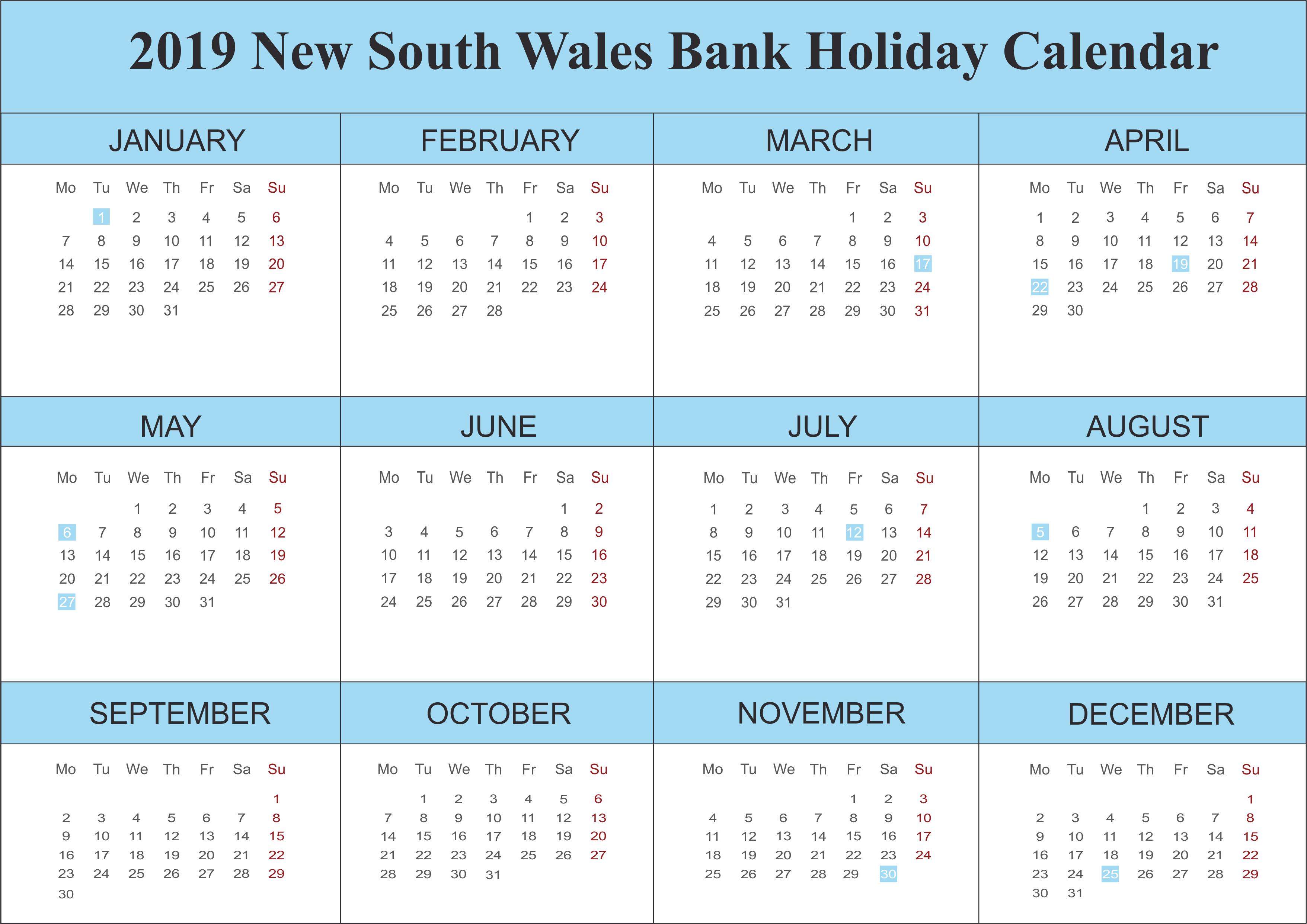 2019 NSW Bank Holidays Calendar
