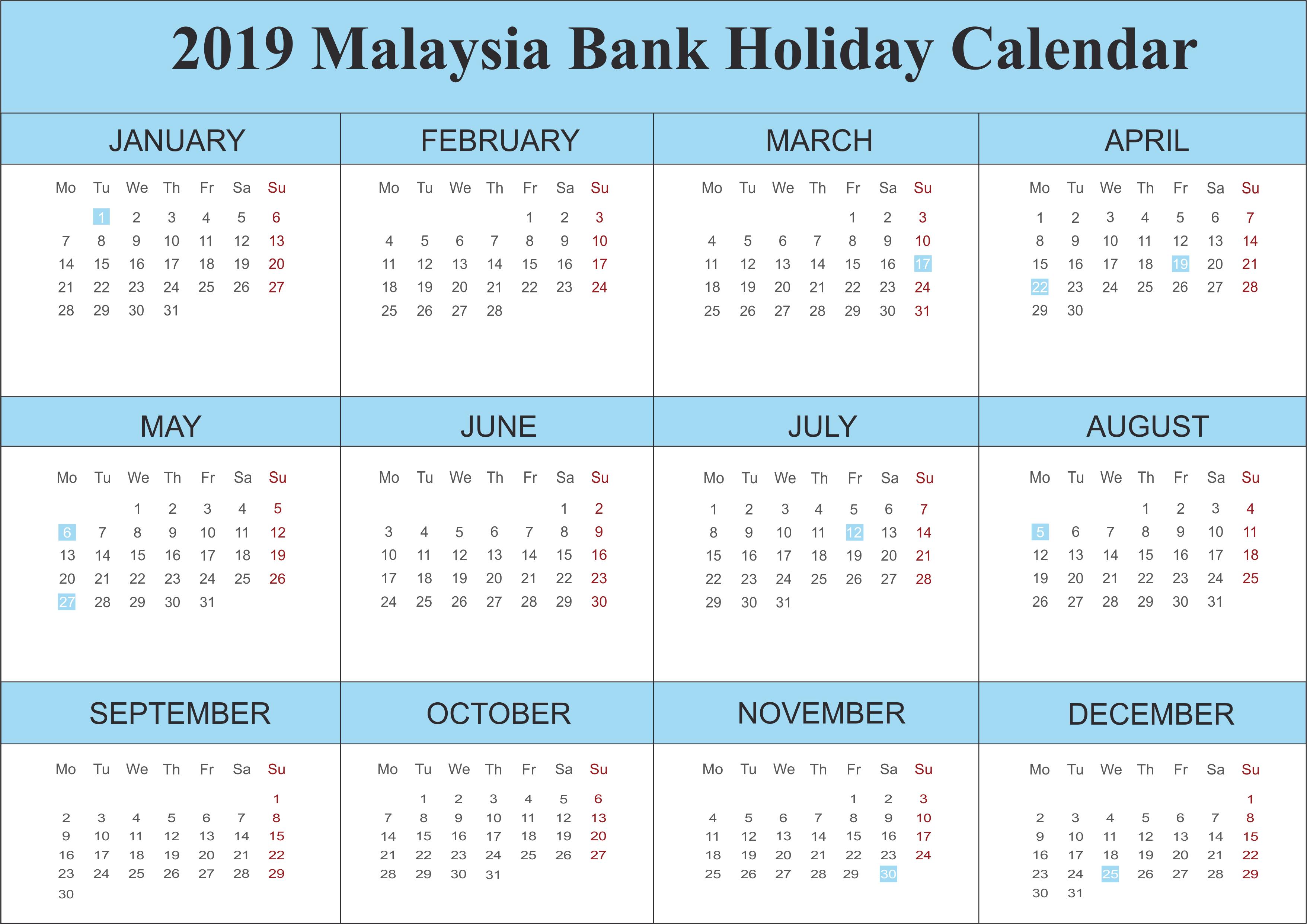 2019 Malaysia Bank Holidays Calendar