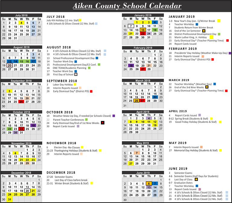 Aiken County School Holidays