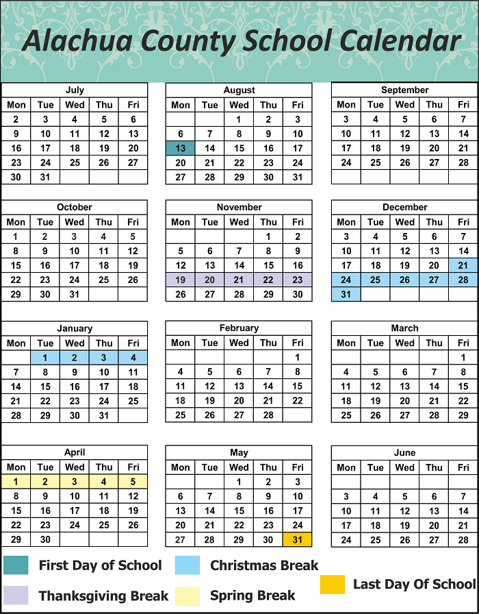 Alachua County School Holidays