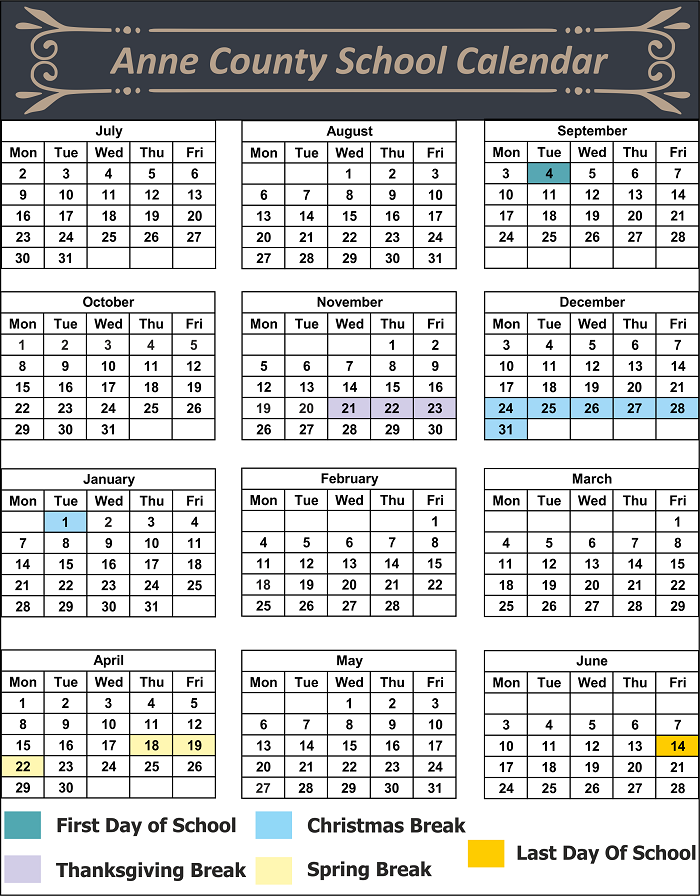 Anne County School Calendar