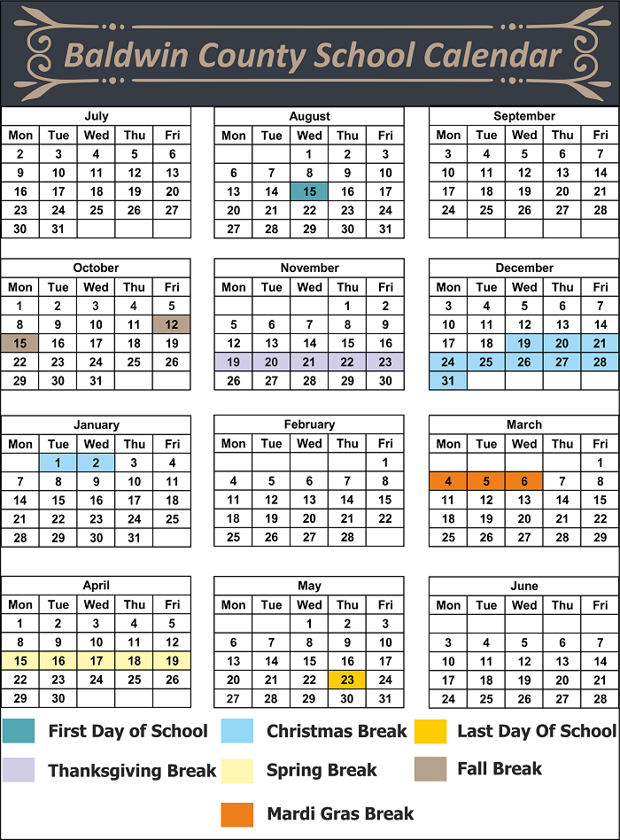 baldwin county school district calendar holidays 2018