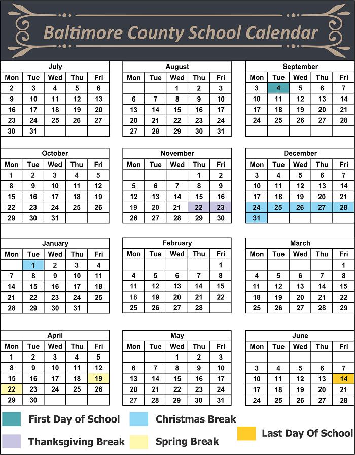 Baltimore County School Calendar