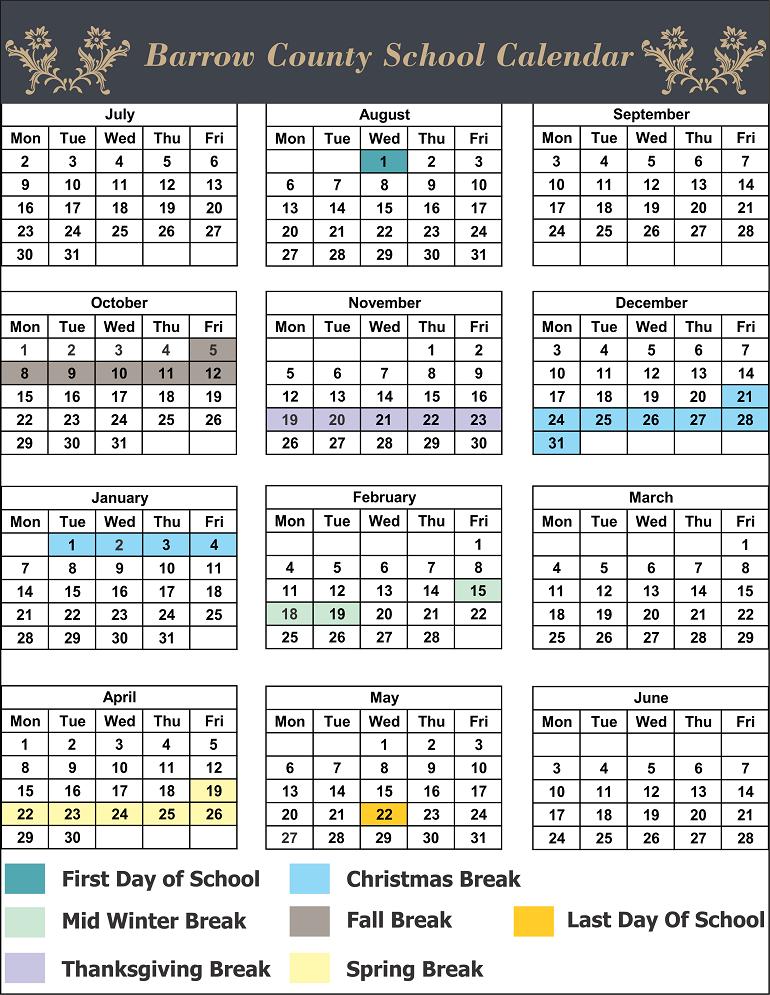 Barrow County School Holidays