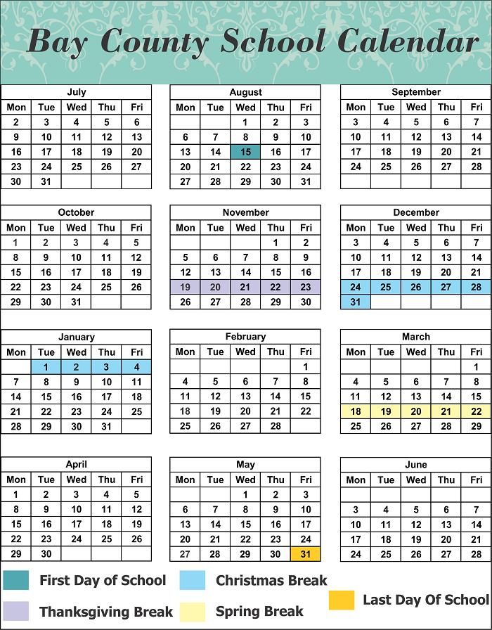 Bay County School Calendar