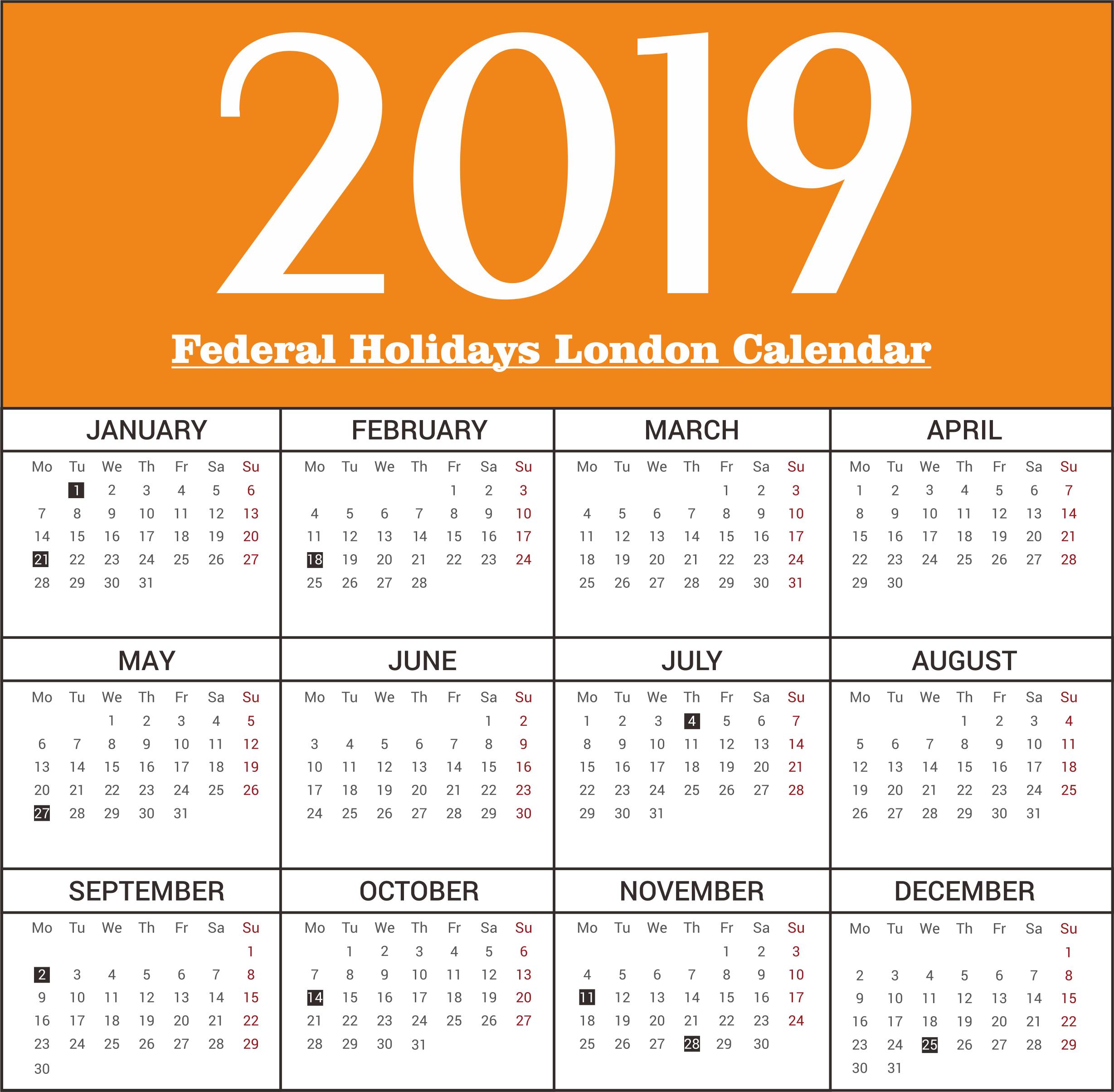 London Federal Holidays Calendar 2019