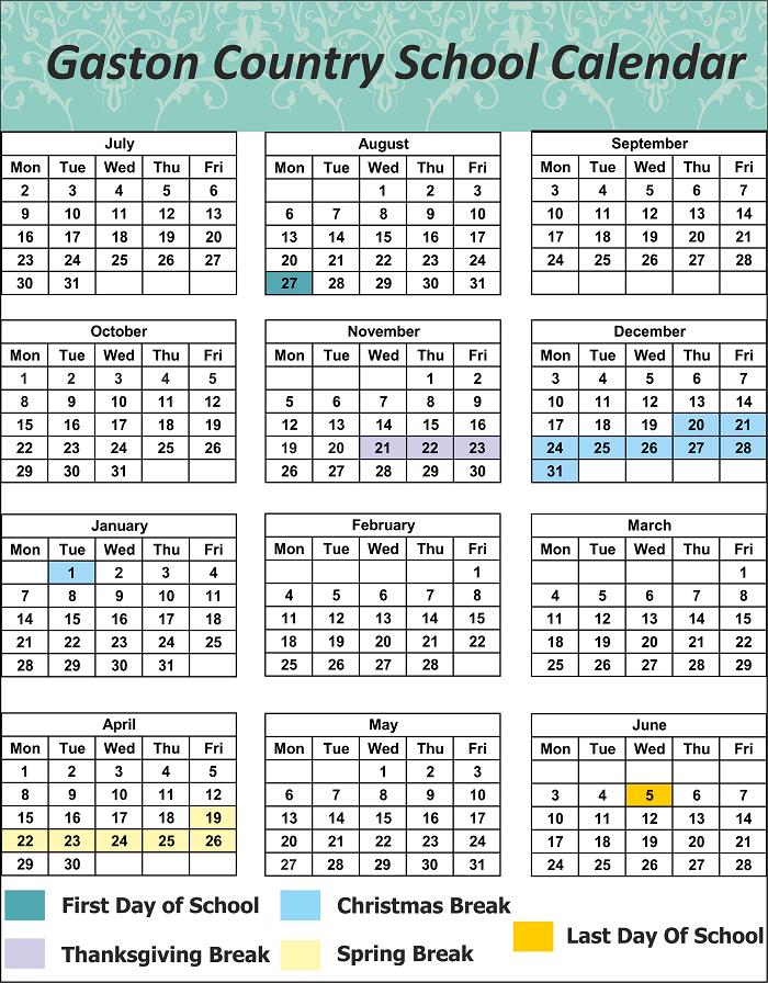 Gaston County School Calendar