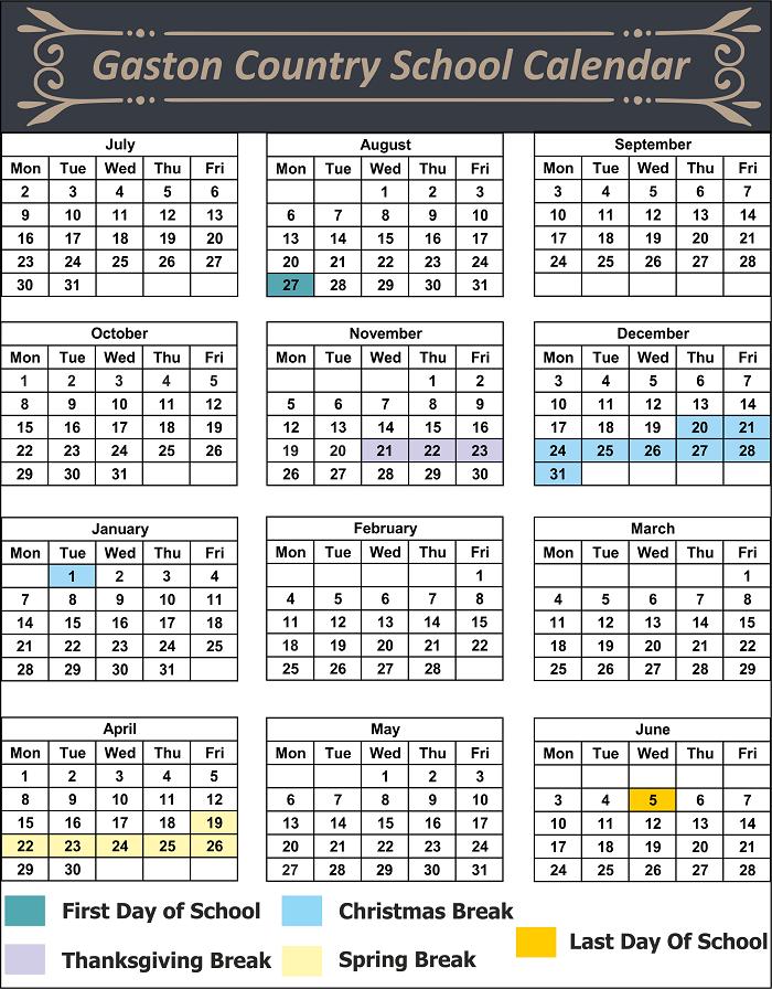 Gaston County School Holidays