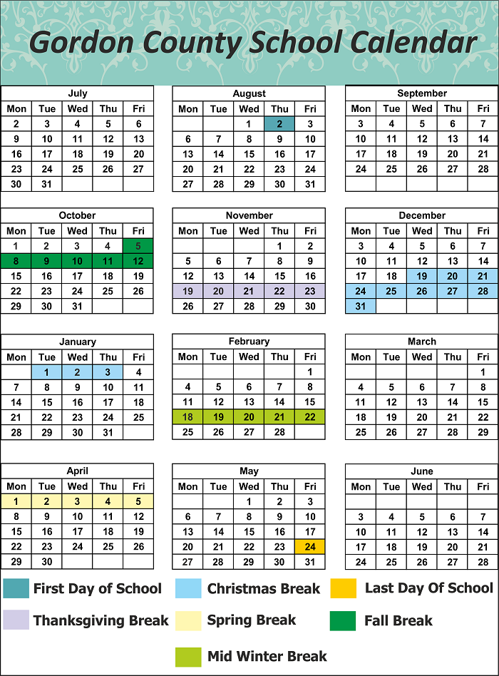 Gordon County School Holidays
