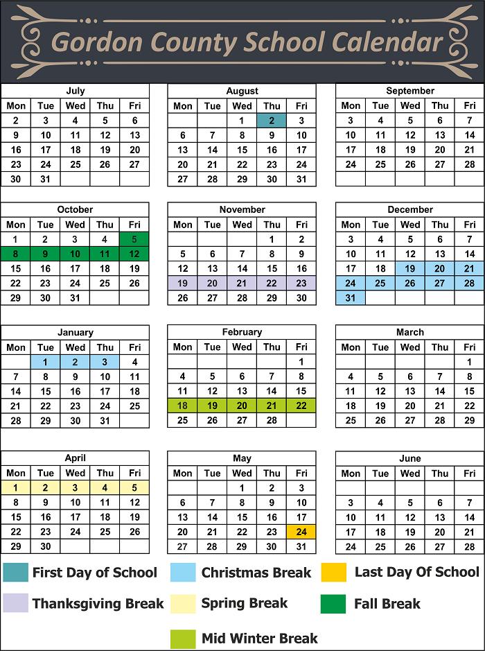 Gordon County School Calendar