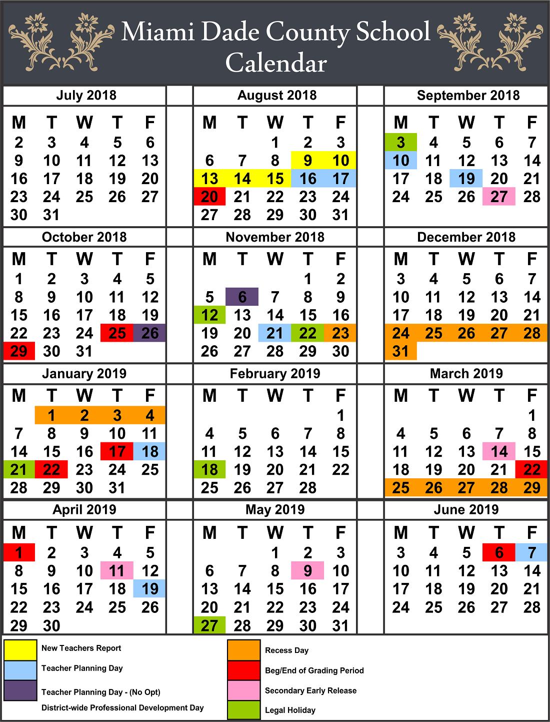 Miami County School Calendar