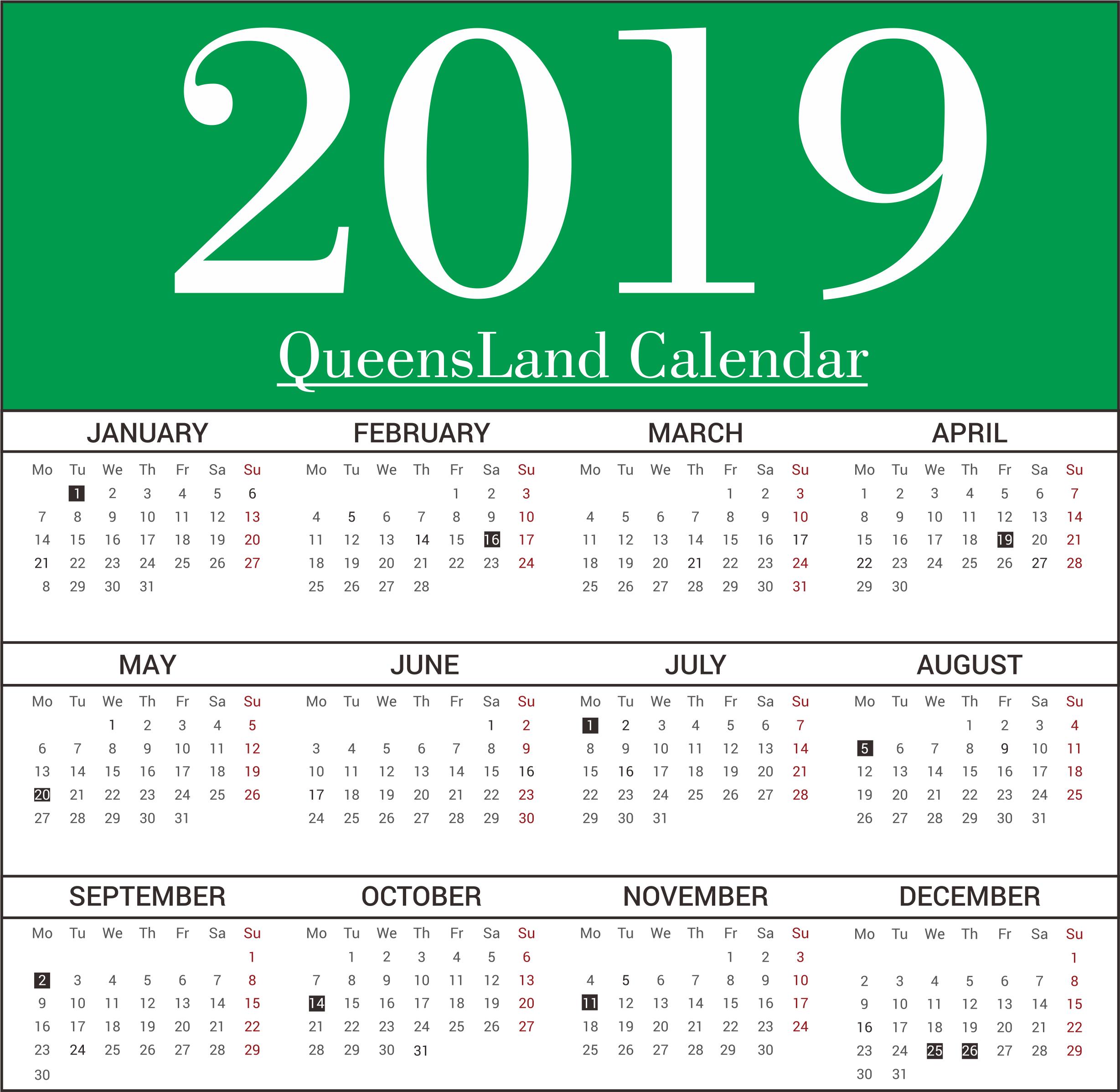 QLD Bank Holidays 2019 Calendar