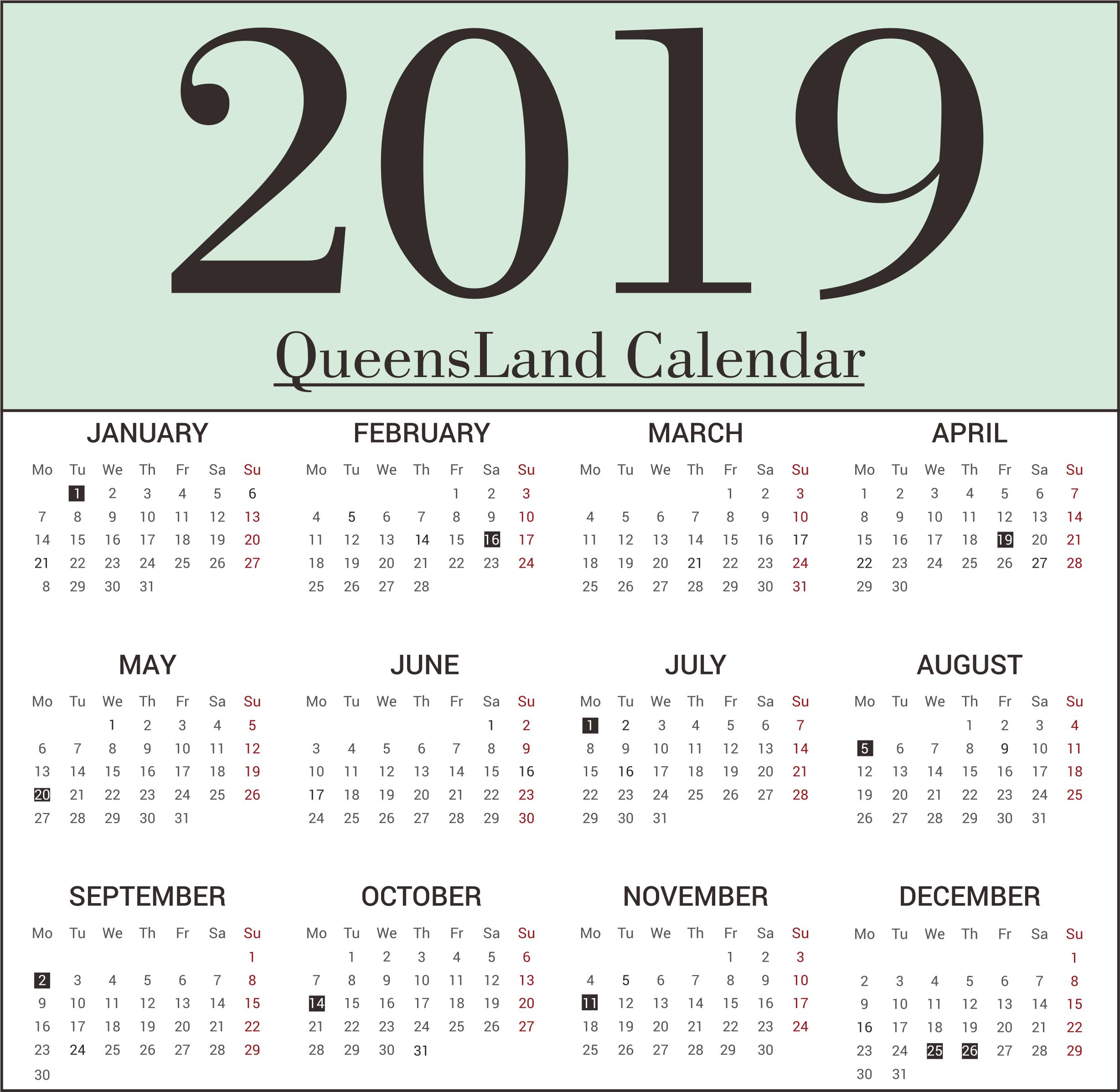 QLD Bank Holidays 2019 Templates