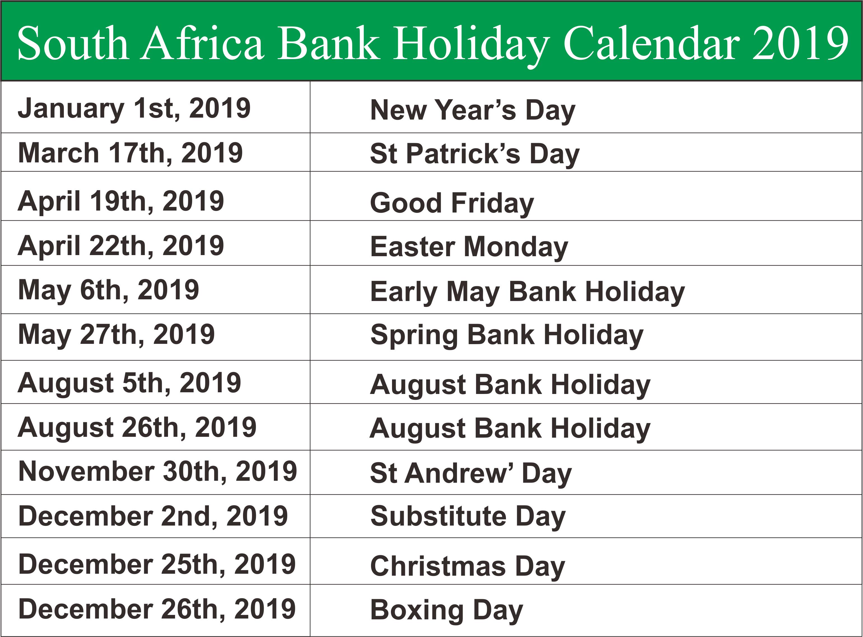 Bank Holidays 2019 SA