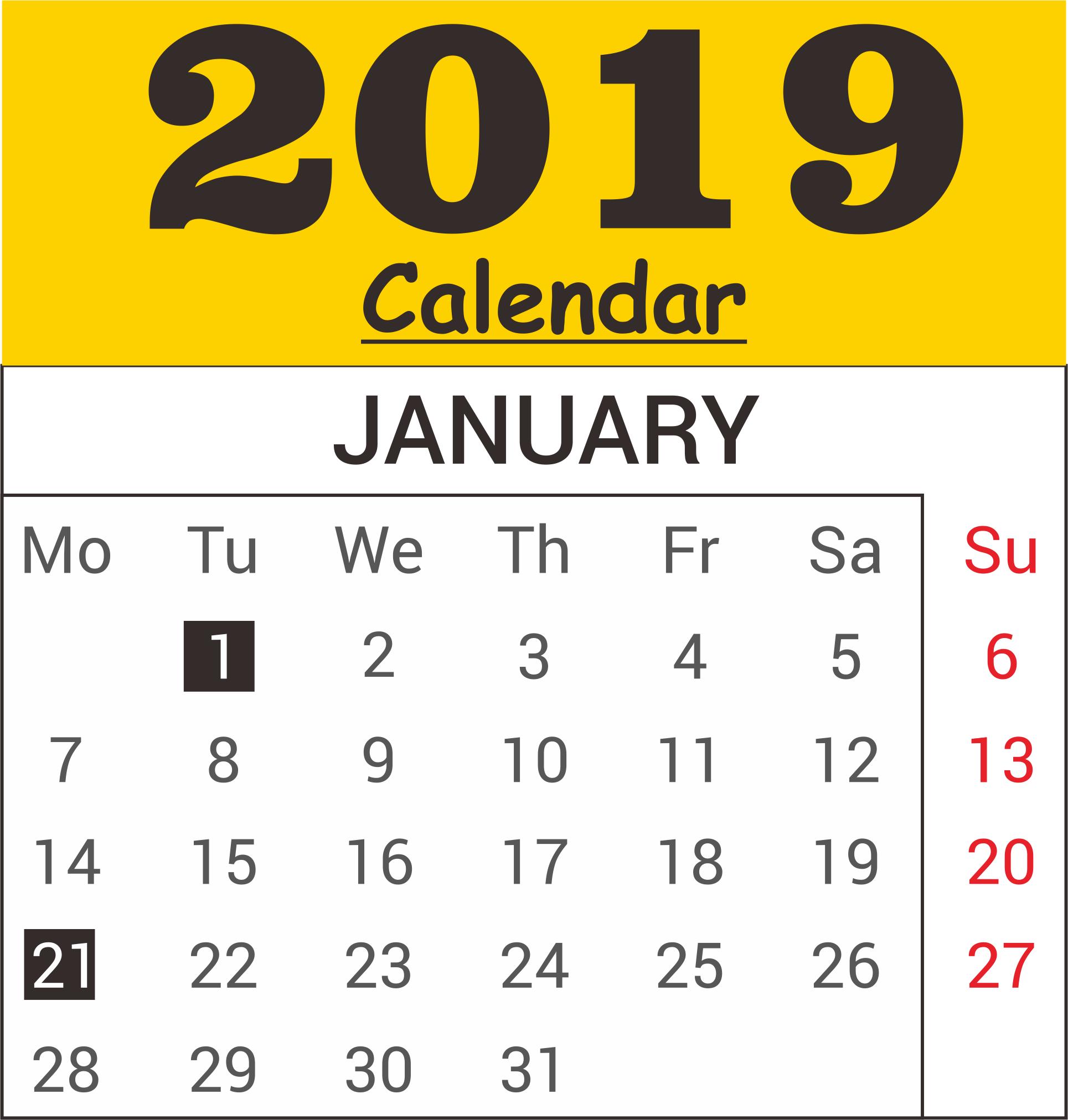 January 2019 Calendar Word