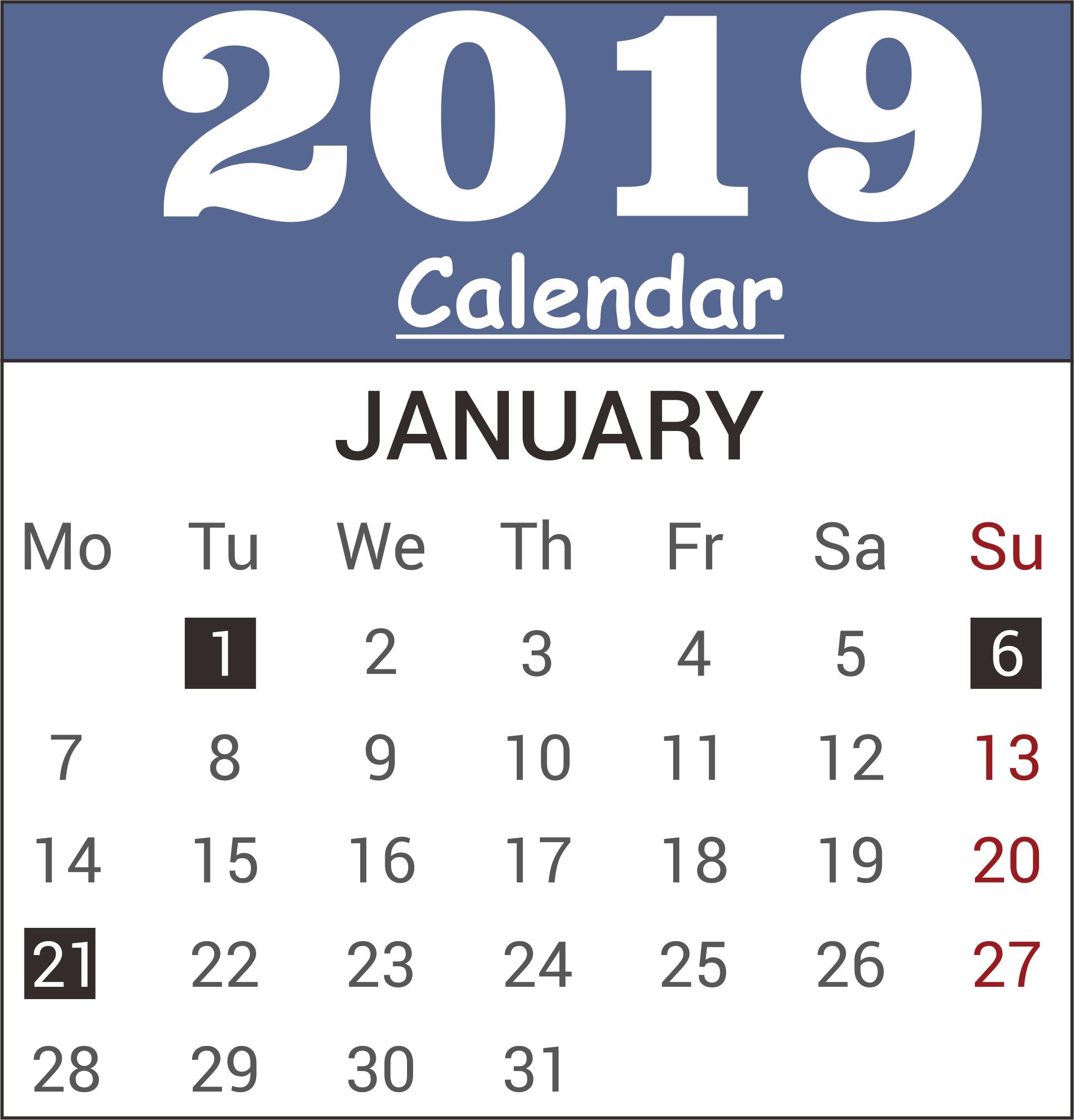 January 2019 Calendar