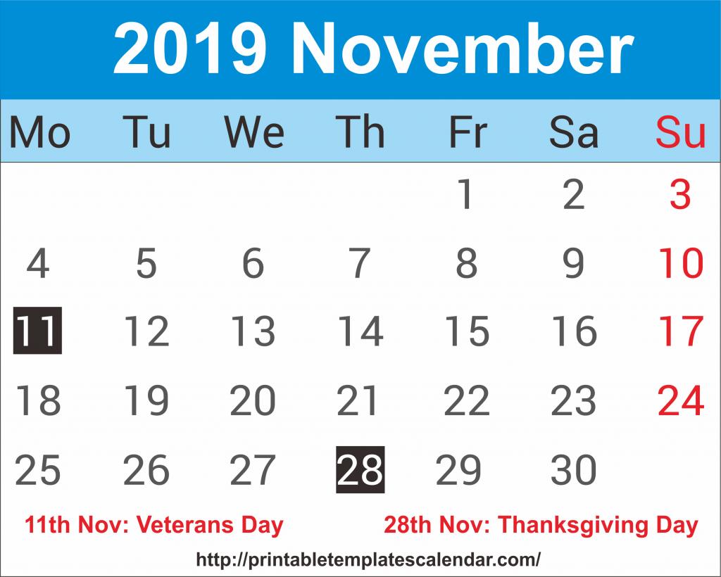 November 2019 Calendar With Holiday