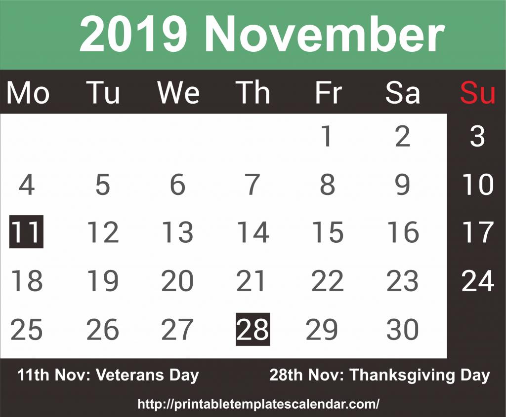 November 2019 Calendar Word