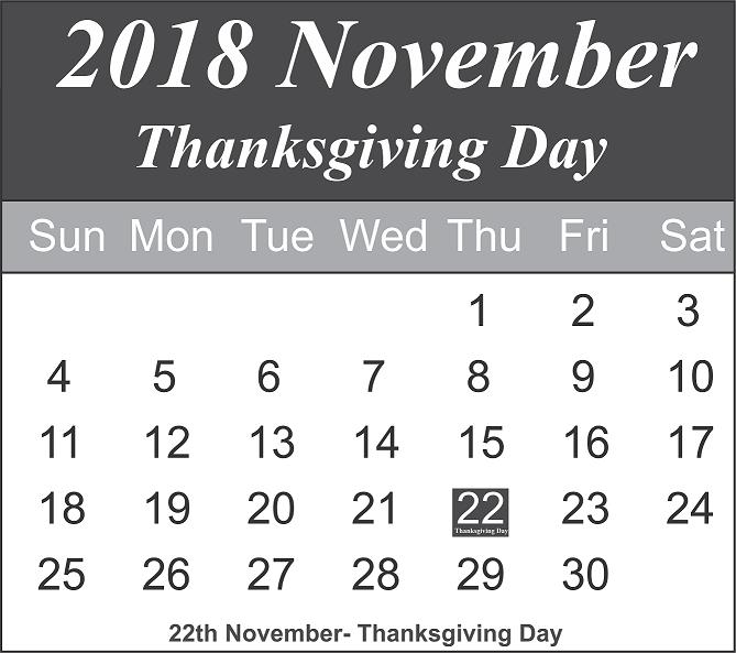 Thanksgiving Day 2018 November