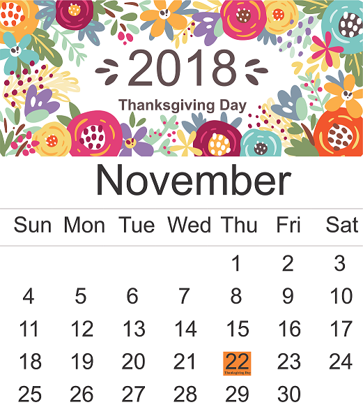 When is Thanksgiving Day in November 2018