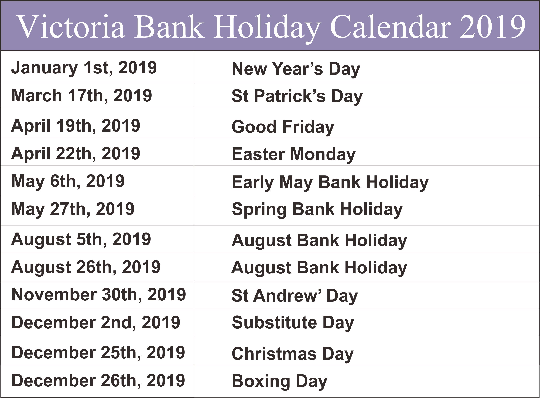 Bank Holidays 2019 Victoria