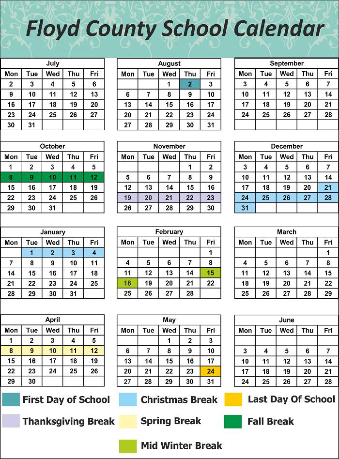 Floyd County School Holidays