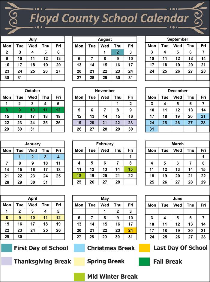 Floyd County School Calendar