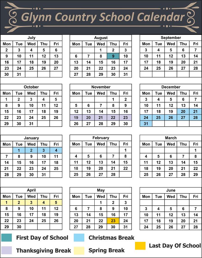Glynn County School Calendar