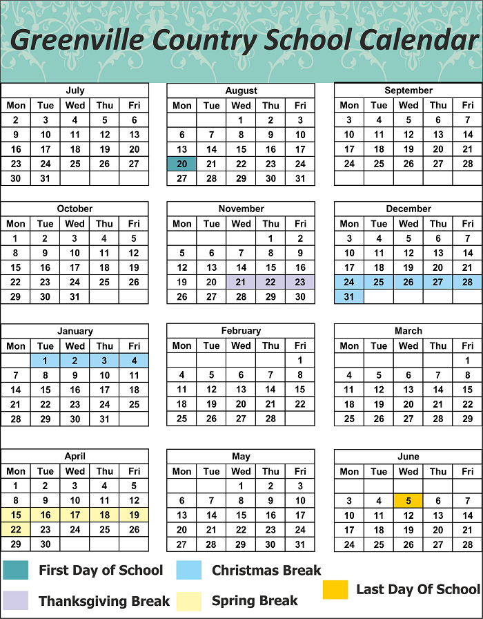 Greenville County School Holidays