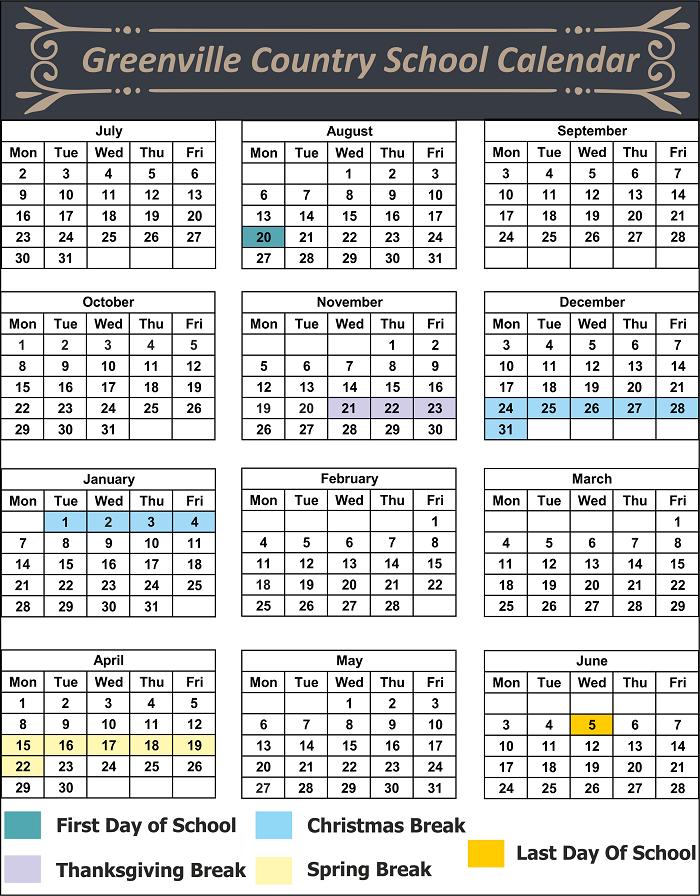 Greenville County School Calendar