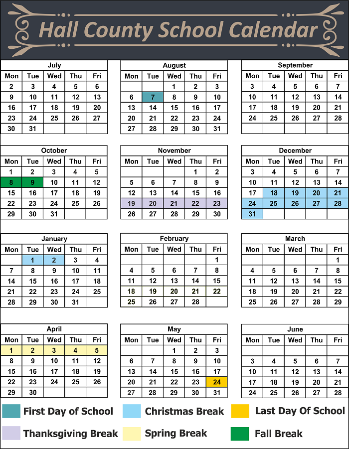 Hall County School Calendar