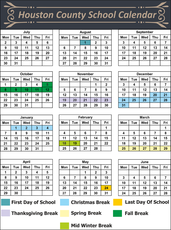 April Calendar Houston : Houston county school district calendar holidays