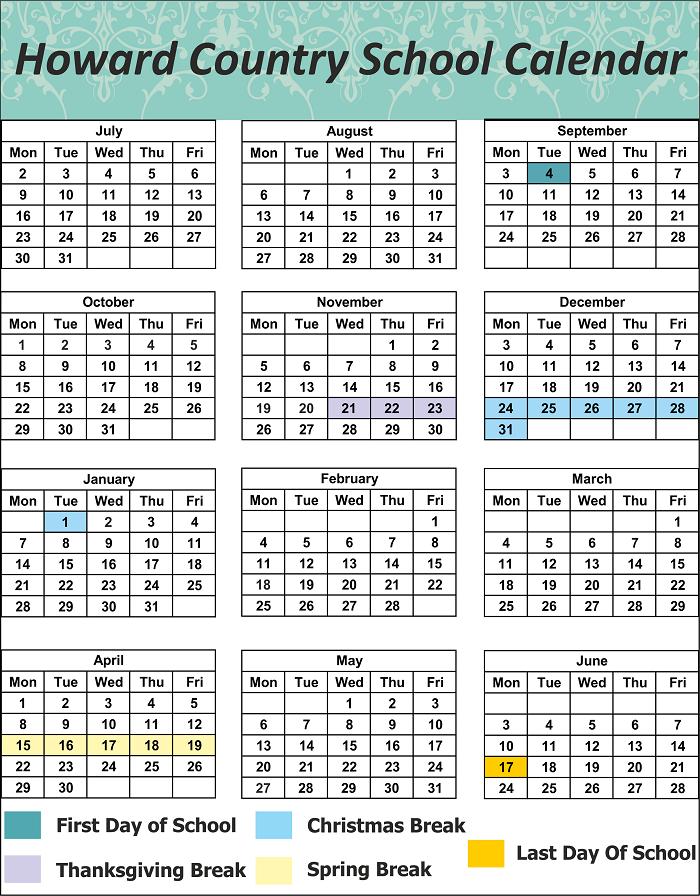 Howard County School Holidays