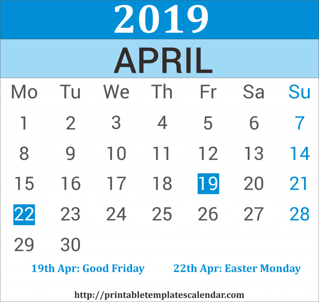 April 2019 Calendar With Holiday