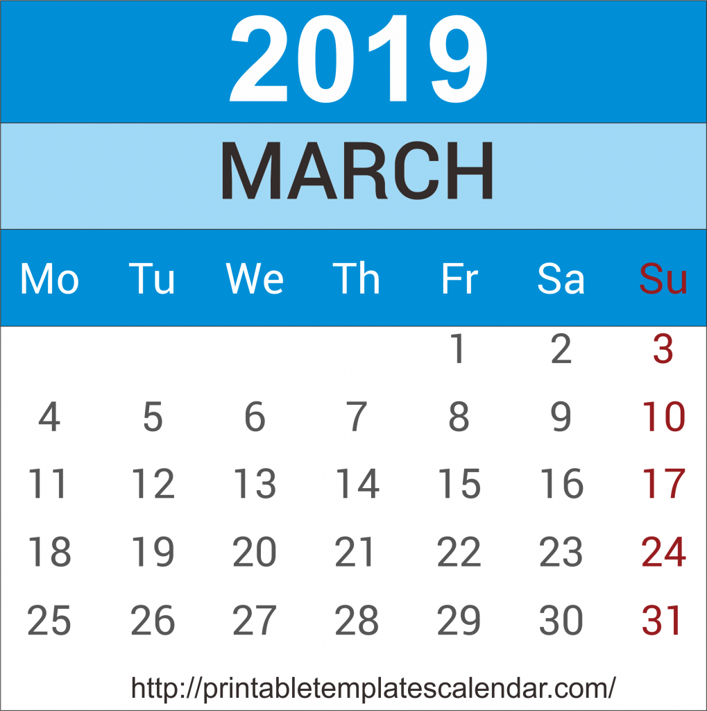 March 2019 Calendar With Holiday