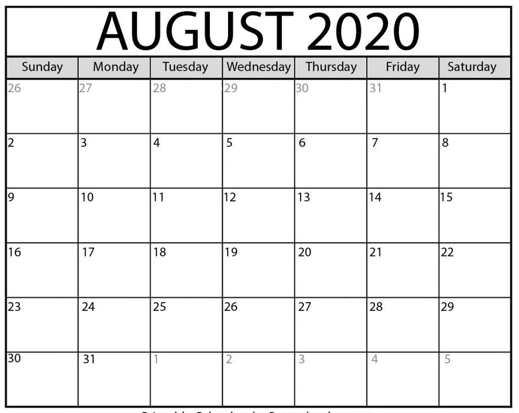 Free August 2020 Printable Calendar