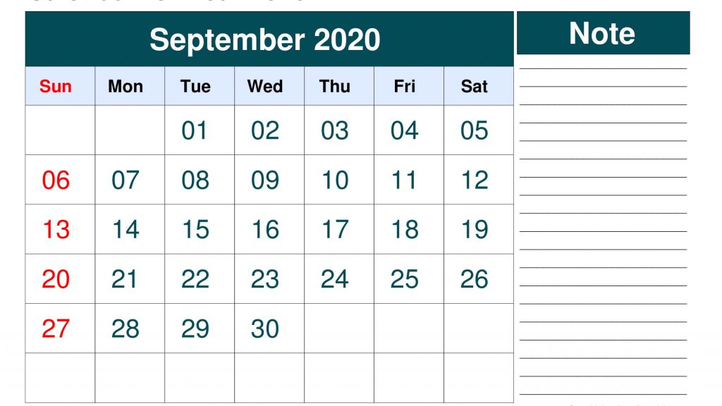 September 2020 Printable Calendar Landscape