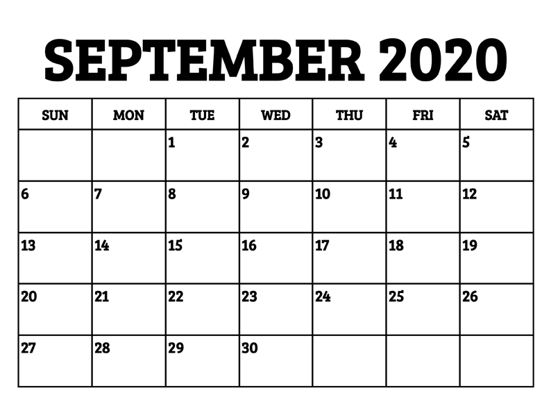 September 2020 Printable Calendar Portrait
