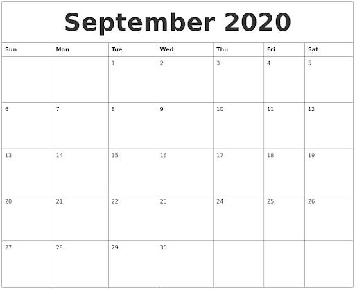 September 2020 Weekly Printable Calendar