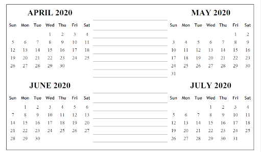 Calendar April May June July 2020