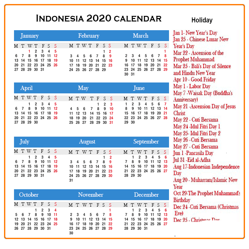 Indonesia 2020 Calendar with Holidays