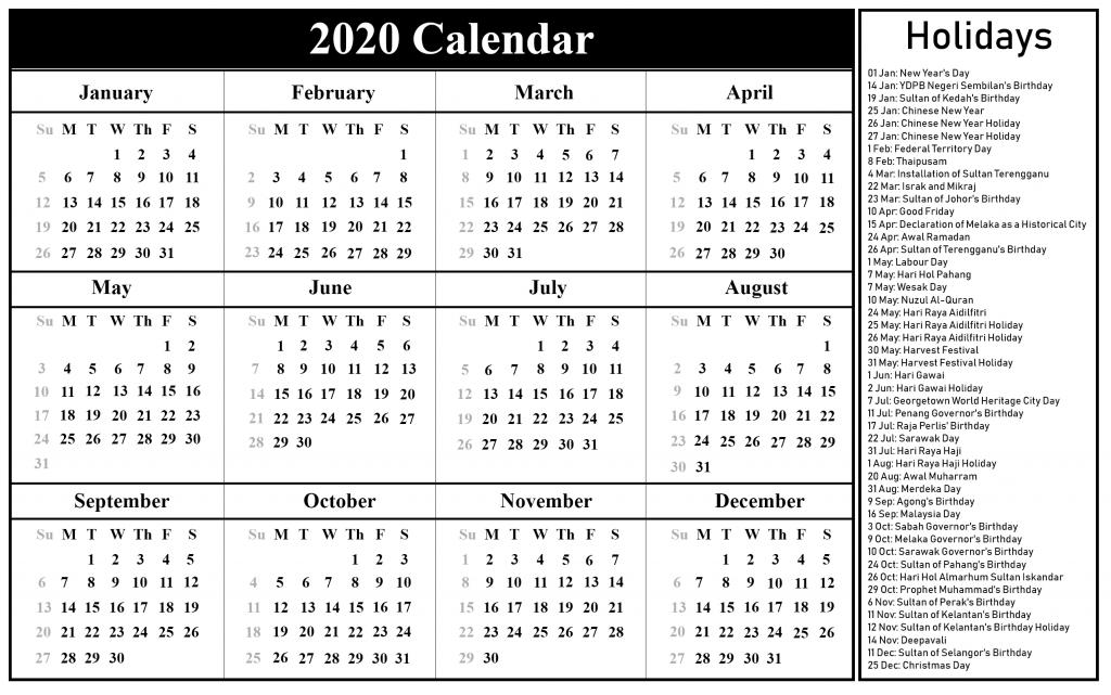 Malaysia 2020 Calendar with Public Holidays