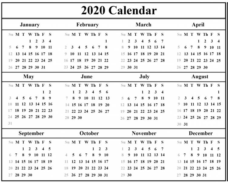 Malaysia 2020 Calendar
