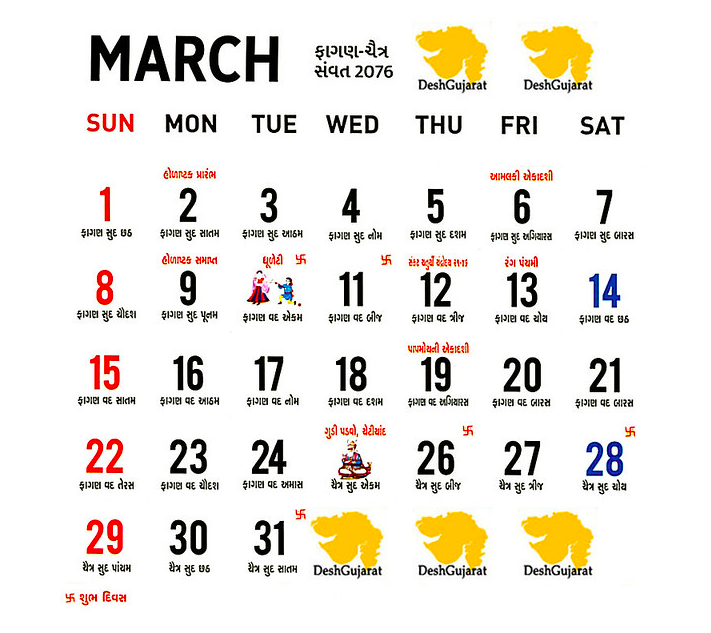 March Panchang 2020 Calendar