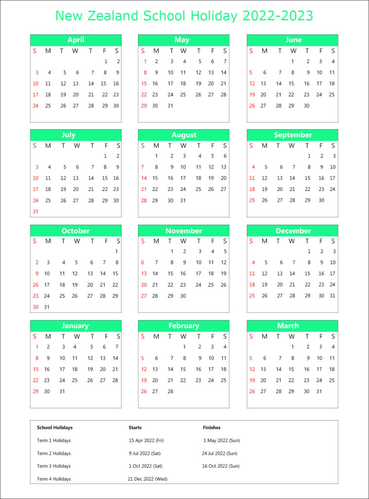 School Holidays Calendar 2022 NZ