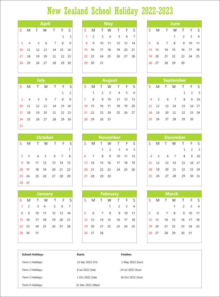 New Zealand School Calendar 2022