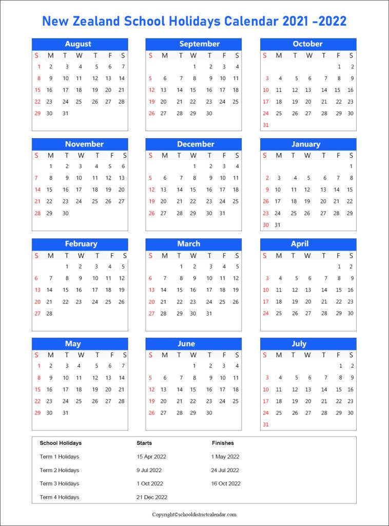 New Zealand School Calendar 2021